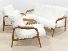 Mid-century modern, skandináv vonalú ülőgarnitúra, szőrös kárpittal