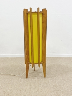 Mid-century modern fa vázas padló lámpa