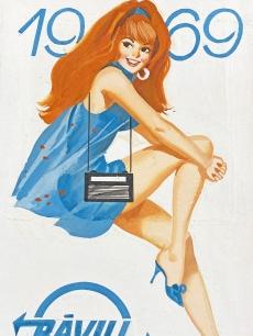 Eredeti reklámplakát terv, Ravill 1969, lány kék neglizsében