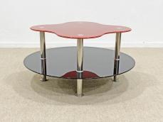 Fekete piros design üveg kávézóasztal