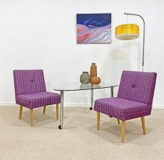 Retro, lila, kisméretű fotel pár