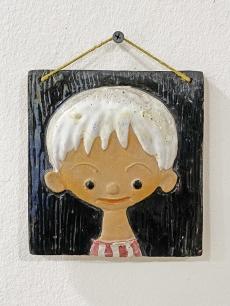 Retro, kerámia kisfiú falikép
