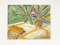 Szobanövény könyvvel, csendélet festmény, 1977