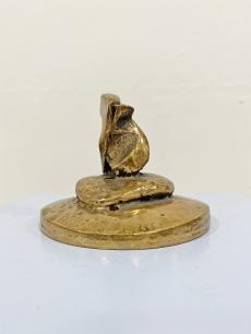 Absztrakt bronz levélnehezék, íróasztal dísz
