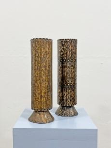 Iparművészeti bronz váza pár