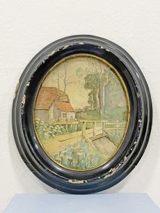 Romantikus, régi festmény ovális fa keretben