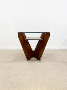 Pompás art deco játékasztal üveg lappal