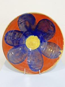 Iparművészeti kerámia virág dísztál