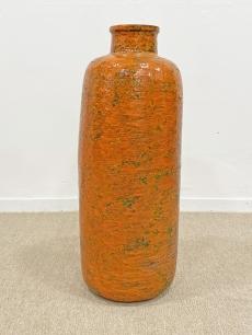 Hatalmas retro kerámia padlóváza narancs színben