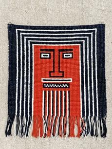 Retro textil faldísz, piros - fekete színben