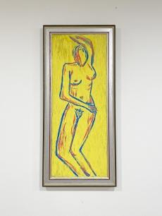 Izgalmas sárga tónusú női akt festmény