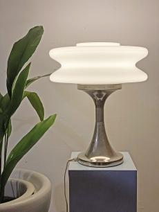 Üveg és króm Space age asztali lámpa