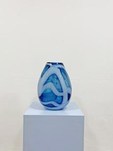 Azúrkék Muránói üveg váza