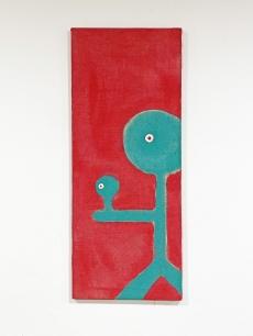 Kortárs festmény - türkiz piros