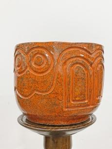 Retro kerámia kaspó - narancs