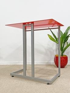Piros design íróasztal üveglappal
