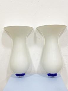 Romantikus fehér-kék üveg falilámpa