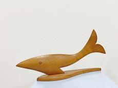 Különlegesen nagy retro fa hal plasztika