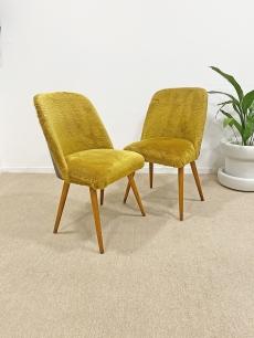 Mid-century modern szék pár mustár színben