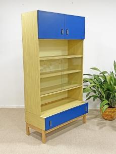 Retró, vitrines, kék, magas szekrény