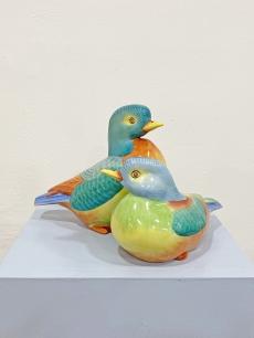 Hollóházi porcelán kézzel festett kacsa pár