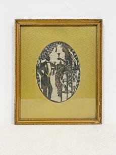 Art deco árnykép gobelin - gavallér jelenet