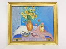 Gonda Zoltán festmény - asztali csendélet virággal