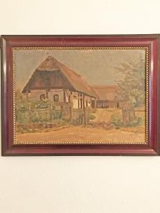 Falusi udvar festmény korabeli keretben