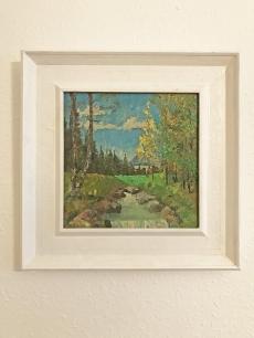 Erdei tisztás patakkal - festmény