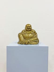 Vintage réz nevető Buddha szobor