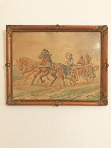 Magyar népies festmény - lovas szekér