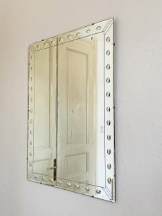 Nagy méretű metszett, késő art deco tükör, Donnelly-Kelly Glass