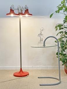 Piros, háromfejű, design padlólámpa