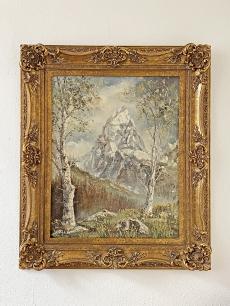 Werner Gisin - tájkép festmény hegycsúccsal