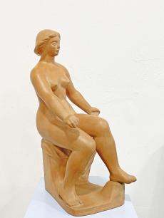 Marosán László modernista női akt terrakotta szobor