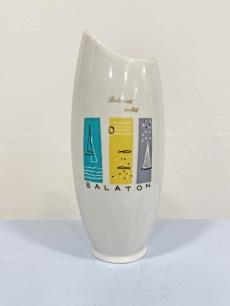 Hollóházi retro porcelán váza - Balatoni emlék