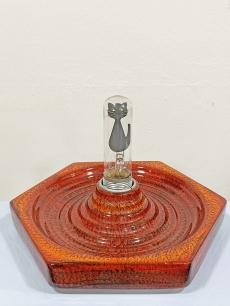 Különleges retro kerámia asztali lámpa egyedi macska izzóval