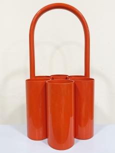 Hordozható design palacktartó narancs piros színben