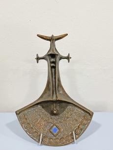 Papp Zoltán modernista bronz plasztika - bika faldísz