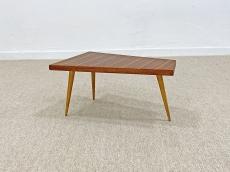 Háromlábú, mid-century modern, intarziás kis asztal - 1960 körül
