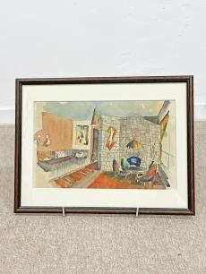 Mid-century modern szobabelső festmény