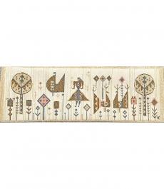 Németh Éva iparművészeti kézi szőttes faliszőnyeg - bézs