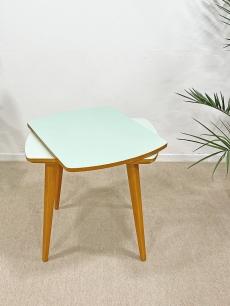 Almazöld, forgó tetejű mid-century modern asztal