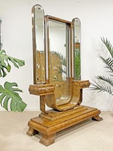 Impozáns art deco szárnyas tükör - fésülködő asztal