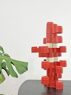 Retro műanyag építőkocka játék - térforma