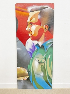 Katonát ábrázoló szocreál festmény